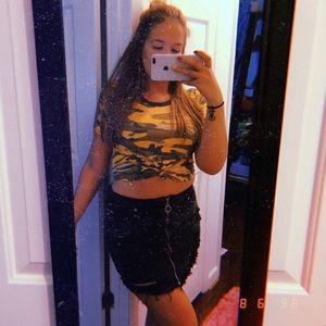 black zip-up denim mini skirt